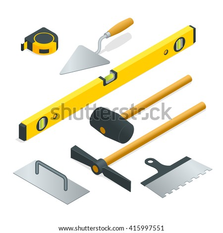 Collection of most common types of masonry tools. Flat 3d isometric vector illustration. - stock vector