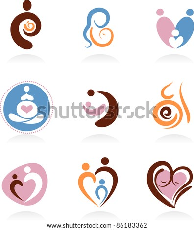 Collection of motherhood icons - stock vector