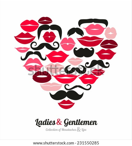 Collection of moustaches and lips - stock vector