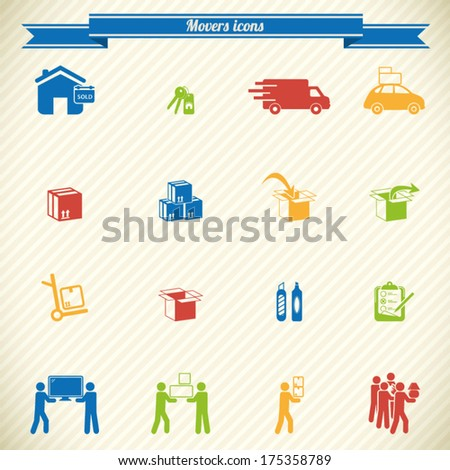 Collection of moving and movers service icons - stock vector
