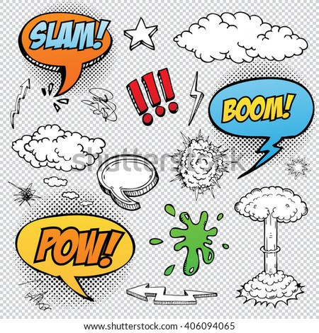 Collection of multicolored vector hand drawn comic sound Effects