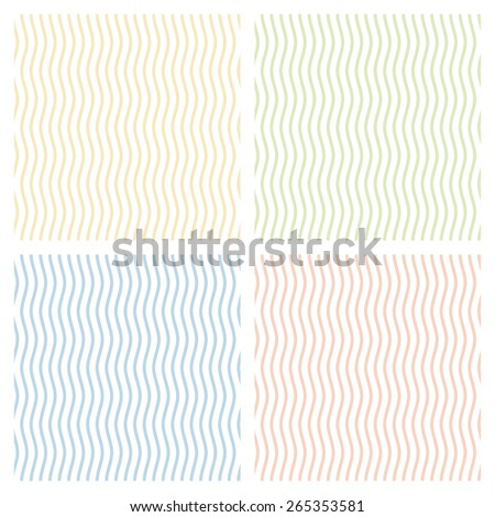 Collection of multicolored waves background - endless - stock vector
