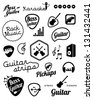 Collection of music and sound related elements in vintage design - stock vector
