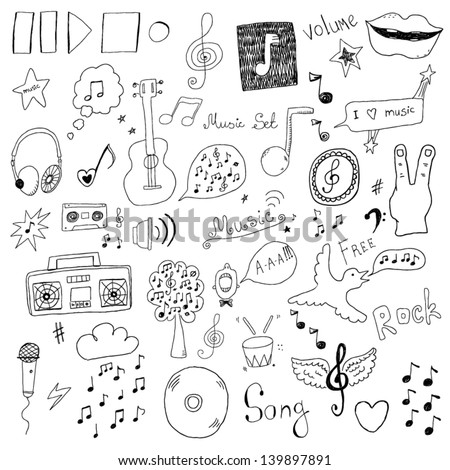 Collection of music signs - stock vector