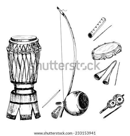 Collection of musical instruments of capoeira. Hand drawn sketch illustrations. - stock vector