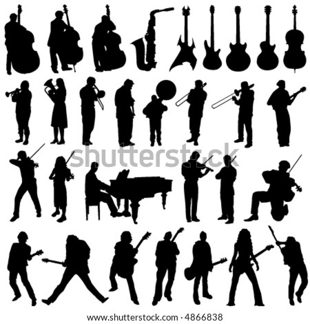 collection of musician and music object vector - stock vector