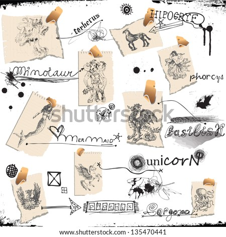 Collection of mythical characters known from the ancient Greek myths. /// Hand drawings into vector, easy editable. - stock vector