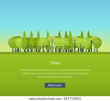 Collection of natural green trees icons set pine fir oak and other trees isolated vector illustration - stock vector