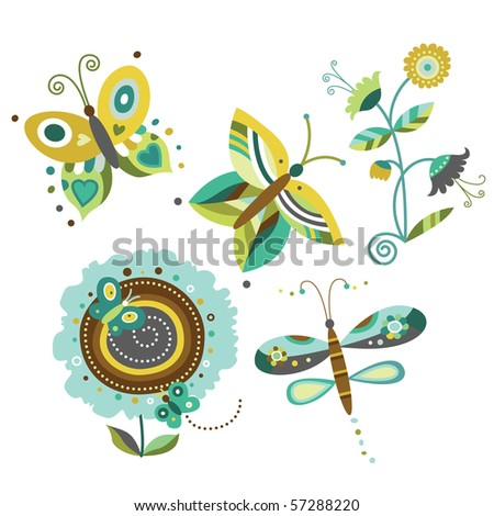 Collection of nature elements - flowers, butterflies, dragonfly - stock vector