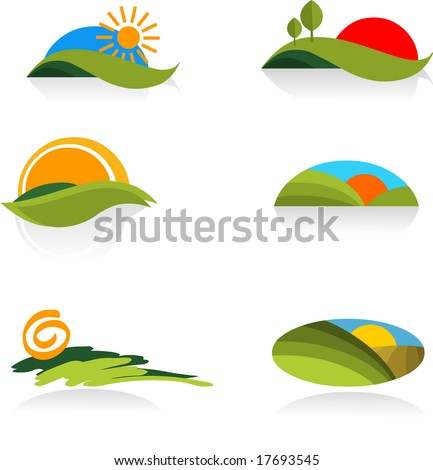 collection of nature  icons - for more logos of this type CLICK ON MY NAME BELOW TO SEE MY GALLERY - stock vector