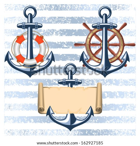 Collection of nautical designed elements - stock vector