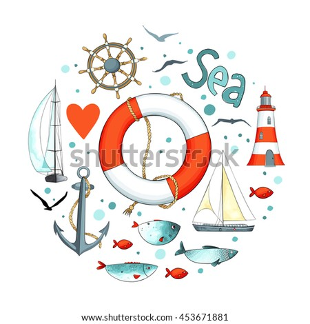 Collection of nautical elements in a circle shape. There are lighthouse, seagull,sailboat, life buoy, fish, anchor and wheel. Objects isolated on white background. Vector illustration. - stock vector
