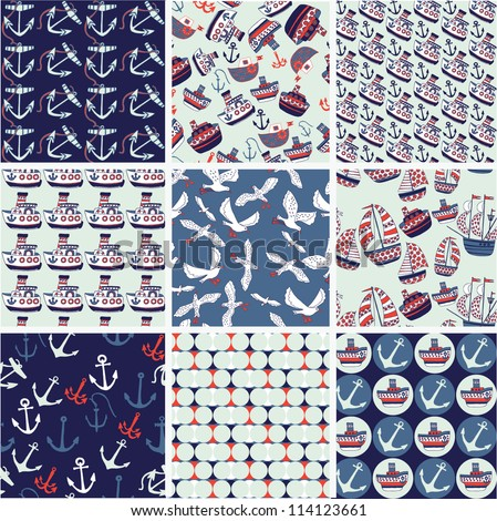 Collection of nautical patterns - stock vector