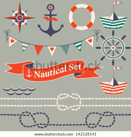 Collection of nautical symbols. Cartoon nautical icons. Elements for scrap-booking. Hand drawn vector illustration. - stock vector