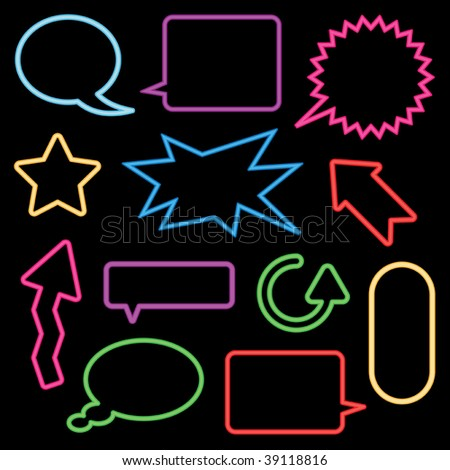 collection of neon speech bubbles and signs - stock vector