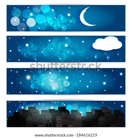 Collection of night sky. Vector EPS10. - stock vector