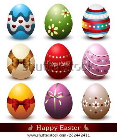 Collection of Nine Colorful Easter Eggs Isolated on White - stock vector