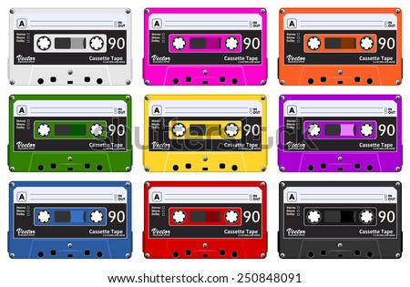 Collection of nine colorful plastic audio cassette tape. Set of different color music tapes. old technology, realistic retro design, vector art image illustration, isolated on white background eps10 - stock vector
