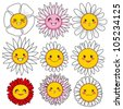 Collection of nine cute and funny flower faces with different facial expressions - stock vector