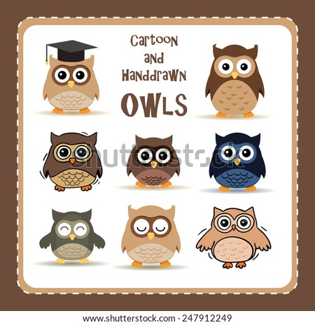 collection of nine cute cartoon and hand-drawn owls - stock vector