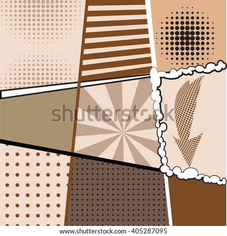 collection of nine different backgrounds in the style of pop art with dots, stripes, signs and markings. Brown-coffee palette design coffee cups, food packaging, cards, menus, banners.   - stock vector