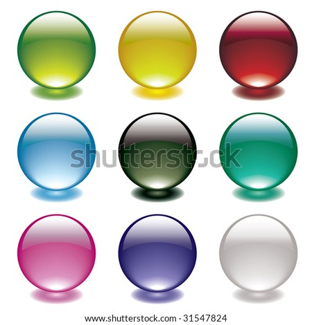 Collection of nine gel filled round bubble icons with bright colorful shadows - stock vector