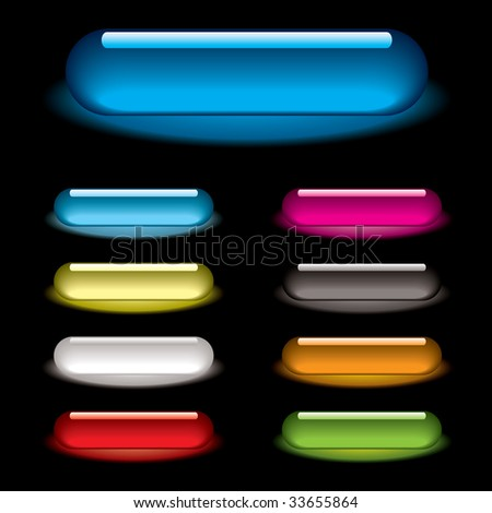Collection of nine lozenge icons with gel effect and drop shadow - stock vector