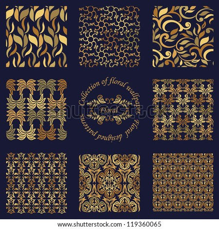 Collection of nine luxury floral patterns - stock vector