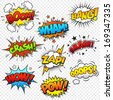 Collection of nine multicolored comic sound Effects - stock vector