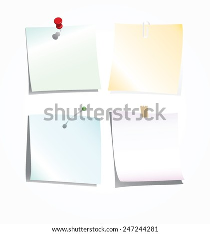 collection of note paper. vector illustration - stock vector