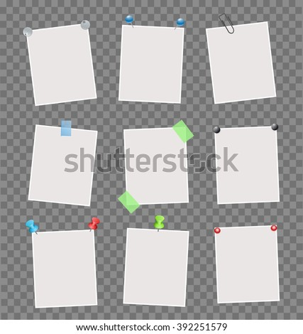 Collection of note papers on transparent background