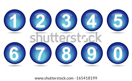 collection of numbers - Blue spheres. - stock vector