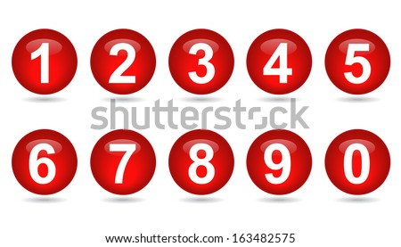 collection of numbers - red spheres  - stock vector