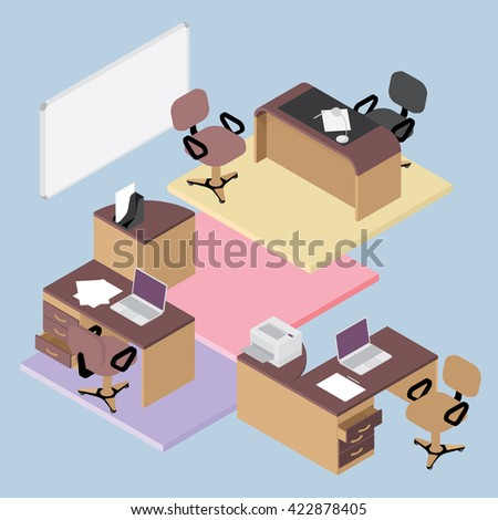 isometric office furniture vector collection. collection of office furniture flat isometric room interior businessmen concept vector set e