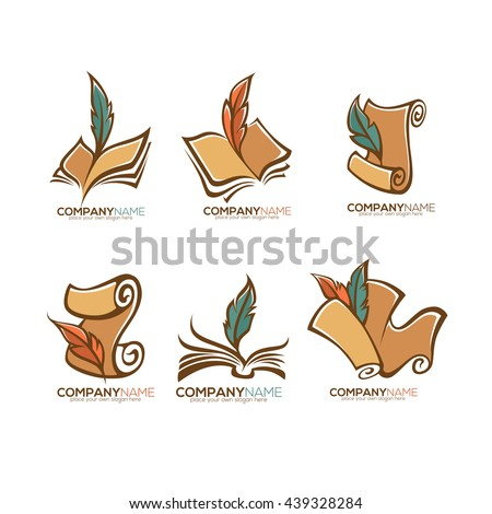 collection old books parchment poetry literature stock vector  collection of old books parchment poetry literature and history symbols logo and