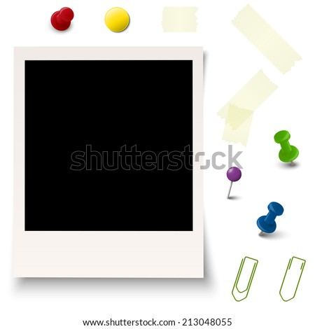 collection of old photo with office accessories vector - stock vector
