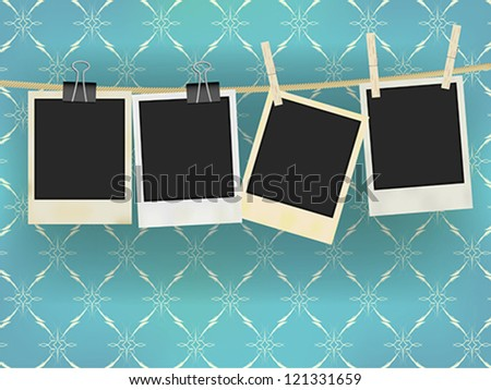 Collection of Old Retro Blank Photo Frames Hanging on Rope - on Vintage Wallpaper - stock vector