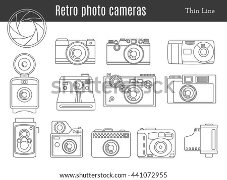 Collection of old retro photo cameras, shutter aperture and film in cartridge. Monochromatic thin line style icons. Vintage graphic design elements isolate on a white background. Vector illustration. - stock vector