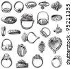 Collection of old rings / vintage illustration from Meyers Konversations-Lexikon 1897 - stock vector