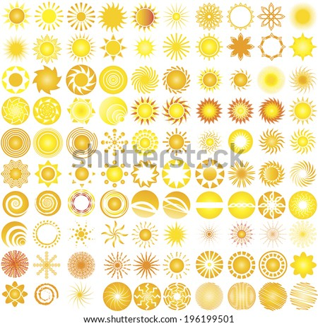 collection of one hundred sun  logo & design elements - stock vector