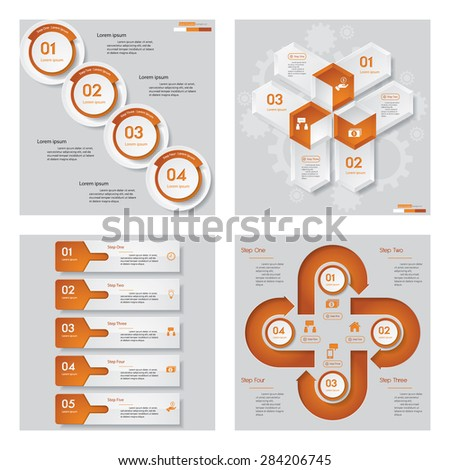 Collection of 4 orange color template/graphic or website layout. Vector Background. For your idea and presentation. - stock vector