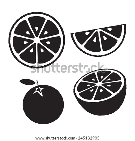 Collection of oranges, icons set, black isolated on white background, vector illustration. - stock vector