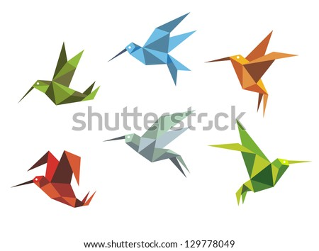 Collection of origami flying birds in the Japanese tradition of folding paper in different positions and colours. Jpeg version also available in gallery - stock vector