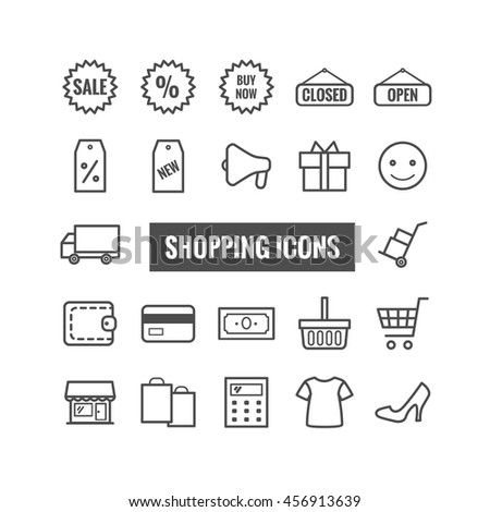 Collection of outline shopping icons. Thin icons for web, print, mobile apps design