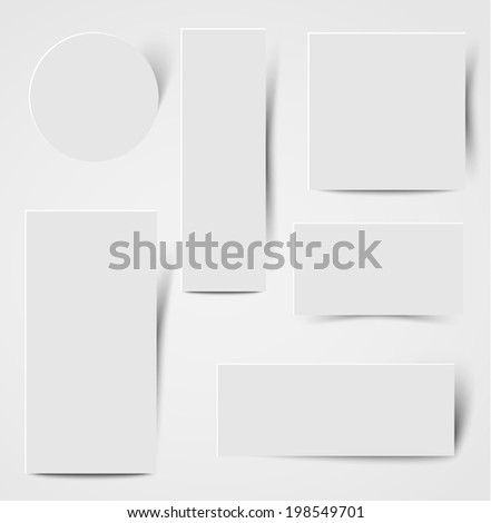 collection of paper card banners with shadows