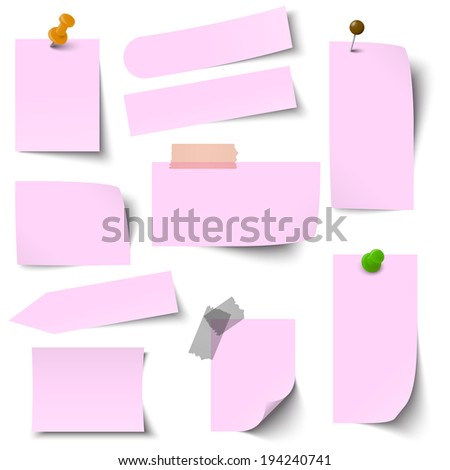 Collection of paper notes pink - stock vector