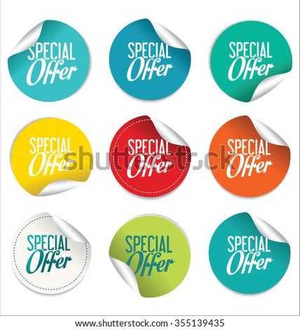 Collection of paper sale stickers - stock vector