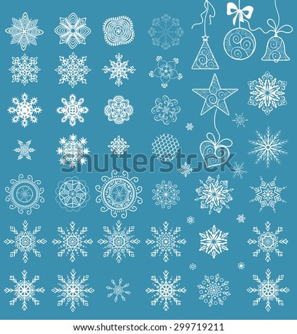 Collection of paper snowflakes for winter holiday - stock vector