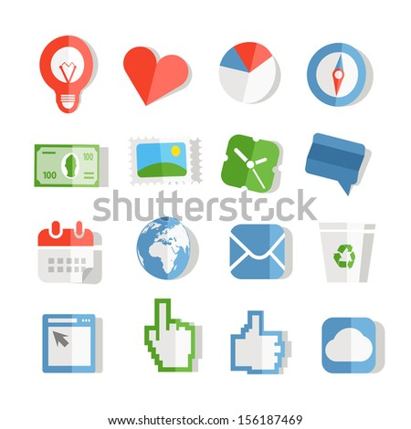 Collection of paper style color web icons. Isolated on white
