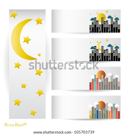 Collection of paper with City buildings. Vector illustration. - stock vector